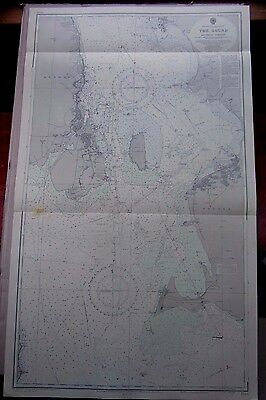"""1967 The SOUND Denmark & Sweden ENTRANCE to BALTIC SEA MAP Chart 28"""" x 47"""" D31"""