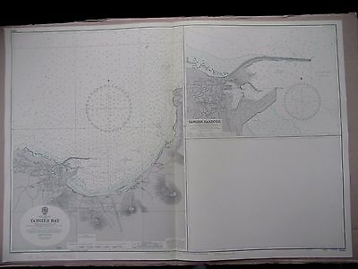 """1969 MOROCCO ~ TANGIER BAY & HARBOUR North Africa Sea Chart MAP 28"""" x 41"""" C11"""