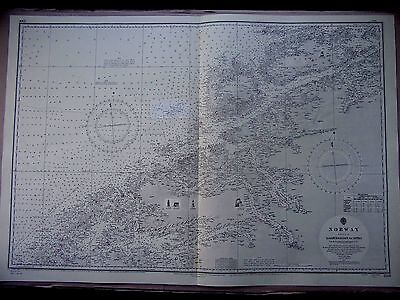 "1967 (1855) NORWAY Haroyfjorden to Hitra - Admiralty Map 28"" x 41"" D86"