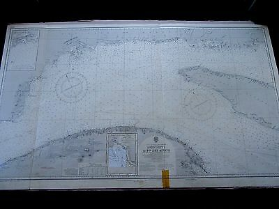 """1964 CANADA St LAWRENCE RIVER Entrance ADMIRALTY Map Chart 28"""" x 48"""" D64"""