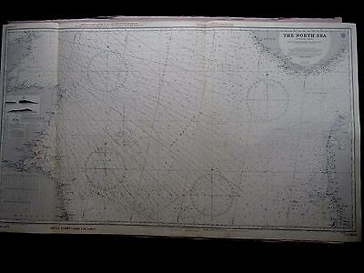 "1961 NORTH SEA Central Sheet - Admiralty Nautical Sea Map 28"" x 48"" A25"