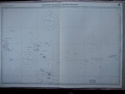 "1969 PACIFIC Solomon Islands to Ellice - Admiralty Sea MAP CHART 41"" x 28"" C80"