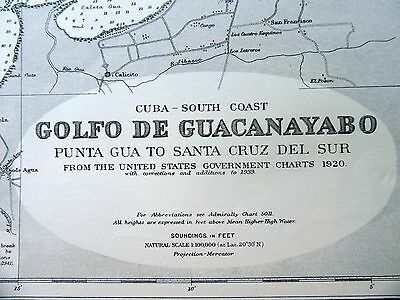 "1967 CUBA South Coast GOLFO de GUACANAYABO Admiralty Sea MAP CHART 28"" x 52"" D02"