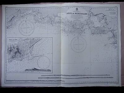 """1965 FRANCE - SETE to MARSEILLES - Admiralty Sea MAP Chart 28"""" x 41"""" D15"""