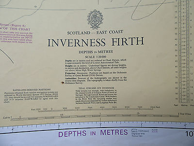 "1981 INVERNESS FIRTH Scotland East Coast Navigational SEA MAP Chart 28"" x 41"""