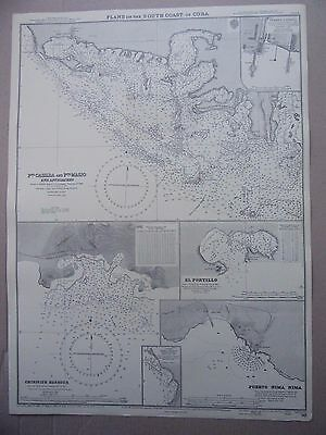 "1958 CUBA South Coast PLANS Harbours & Ports Sea MAP Chart 28"" x 20½"" C27"