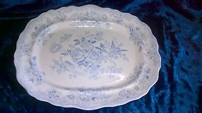 Large Antique Maling Pottery Newcastle Asiatic Pheasant Meat Ashet Platter
