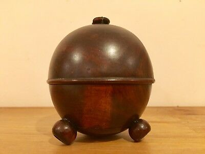 Antique Treen String Ball Or Cotton Holder Lignum Vitae With Cutter