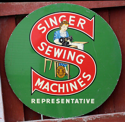 Vintage Singer sewing machine representative's shop sign double sided