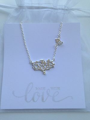 Tree And Bird Pendant Necklace, 925 Sterling Silver Plated - Tree Of Life