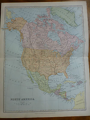 1874 ENGRAVING MAP NORTH AMERICA By Bartholomew UNITED STATES Dominion of CANADA