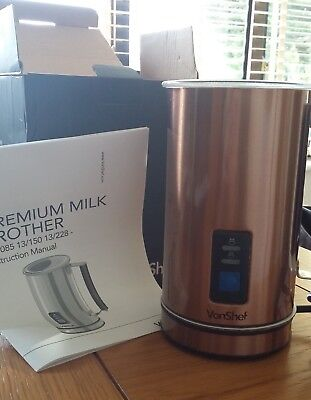 VonShef Copper Finish Dual Function Electric Milk Frother And Warmer Foamer used
