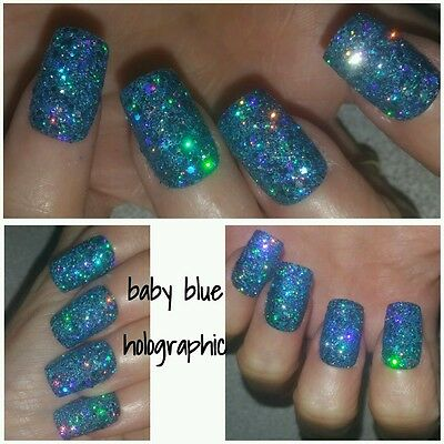 Baby Blue Holographic SQUARE Full False Nails x 20 Super Sparkly Raw Glitter