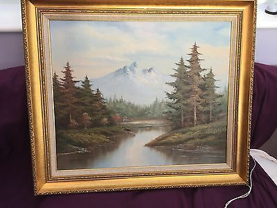 Vintage Oil Painting on Canvas  Landscape signed W. Chapman with Gold Gilt Frame