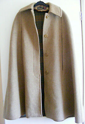 Gloverall Vintage Long Brown Wool Cape Coat Size M 14 16
