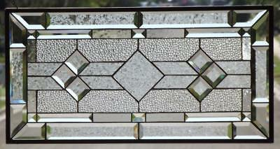 """• Classic  Clear   •Beveled Stained Glass Window Panel • 28 ¾""""x14 ¾"""" (73x38cm)"""