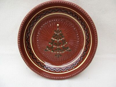 Greenfield Village Redware w/Slip Christmas Tree Shallow Bowl~Signed  Skupski