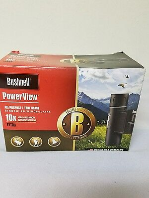 Bushnell Powerview 10x25 Compact Folding Roof Prism Binocular Black