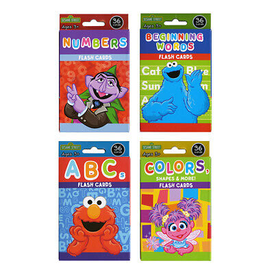 4 Pack Sesame Street Flash Cards Early Learning Colors Shapes ABCs Numbers