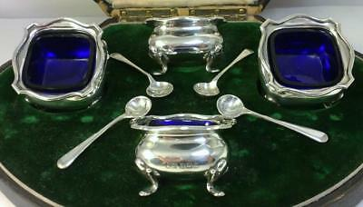 Cased Antique hallmarked Silver Salt Cellars & Spoons – 1906 by Mappin & Webb