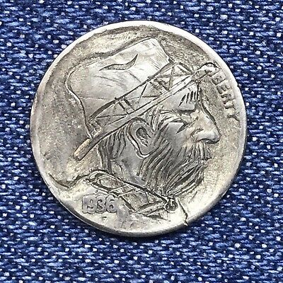 """1936 Hand Carved Original Hobo Nickel One Of A Kind! """"Uncle Newt"""""""