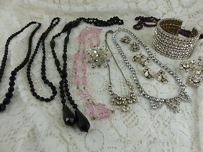 Job Lot Antique Vintage jewellery Crystal garnet beads bangle beads earrings