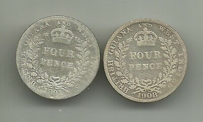BR. GUIANA & WEST INDIES  lot 2 coins  4 pence 1891 + 1908  SILVER  KM# 26, 27
