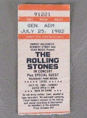 Rolling Stones - Used ticket - Leeds Roundhay Park (25th July 1982)