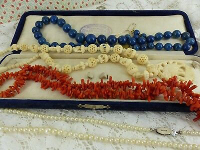 Job Lot Antique Vintage beads Coral Cultured Pearl Bone