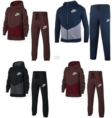 Boys Nike Sweatshirt Full Tracksuit Kids Fleece Hooded Sweat Hoodie Bottoms Top