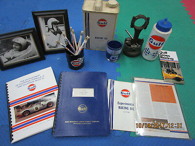 Rare Gulf Racing  Metal Can Automotive Research Lot Collection