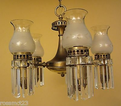 Vintage Lighting 1930s Colonial set by Lightolier. 1 chandelier. 3 sconces