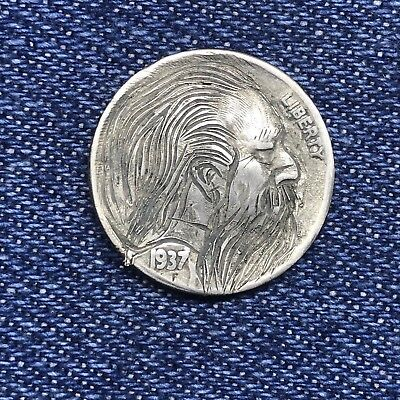 "1937 Hand Carved Original Hobo Nickel One Of A Kind! ""Uncle Hack"""