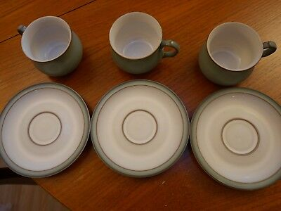 VINTAGE Denby Regency green set of three tea cups + saucers