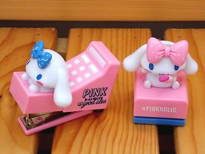 7-11 Sanrio Cinnamoroll Kawaii Mini Stapler and Puncher Set Pink - Free Shipping