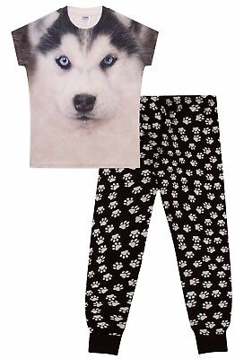 Super Cool Husky 3D  LONG Pyjamas Paw Print Pj 9-14 Years