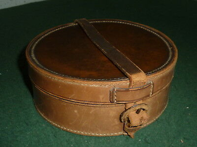 Vintage Antique Small 16 cm Round Real Brown Leather Storage Box