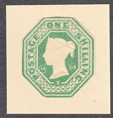 QV GB Victorian Embossed 1s (1/-) Green Mounted Mint  - 2 scans