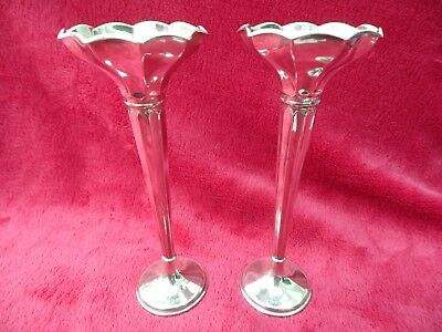 Hallmarked Pair Of Heavy Sterling Silver Trumpet Specimen Flower Vases Bham 1920