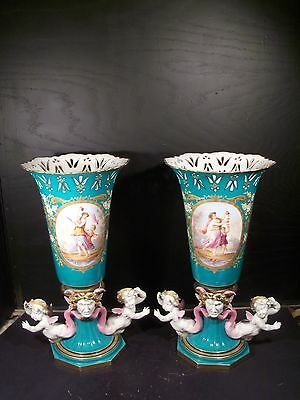 Monumental Antique Pair of Hand Painted Old Paris French Vases Sevres Style