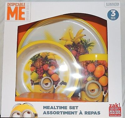 NEW Despicable Me 3 Minions Baby Toddler, Kid Dish Set, Plate Bowl Cup Feeding
