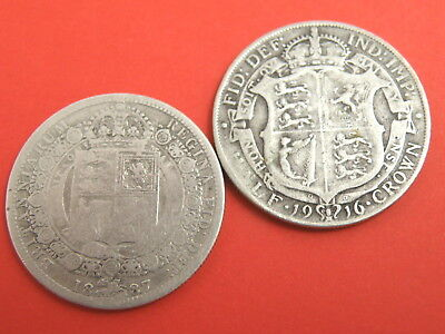 TWO x SILVER HALFCROWN COINS - 1887 Queen Victoria & 1916 King George V