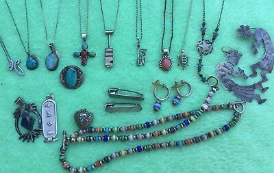 Vintage Sterling Silver Jewelry Lot, Necklaces & More 159.5 Grams Moonglow set