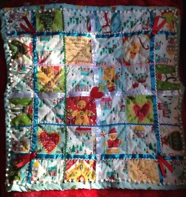 Patchwork Christmas Baby Cot/pram Blanket -Quilted Pom Pom Trim Ribbons