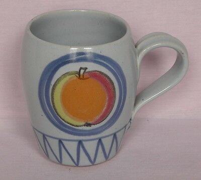 Buchan Stoneware, Brittany, barrel shaped mug, Apple & Pear design, 9.5cm tall