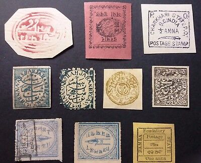 India Early States Stamps Dhr, Jammu, Kashmir, Charkari Scarce Lot
