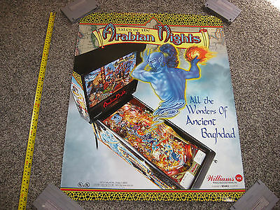 "Original Tales Of The Arabian Nights Pinball Poster 1996 Williams 28"" X 22"""