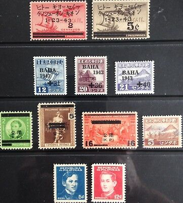 Japanese Occupied Philippines 1942-1943 issues MLH & Used