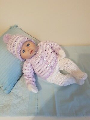 beautiful hand knitted dolls clothes to fit baby annabell 18inch doll