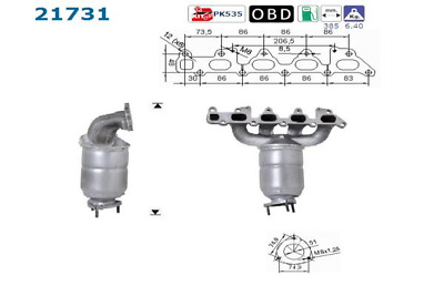 Catalytic Converter - AS S.L.21731 ( incl. Deposit)